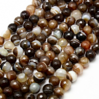 16 Inch Brown Agate 10mm Facet Round Beads